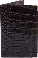 Стильная мужская обложка для паспорта из натуральной кожи под крокодила CANPELLINI SHI11-2KR черный