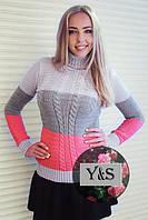 Трёхцветный женский свитер, св.серый+серый+коралл, фото 1