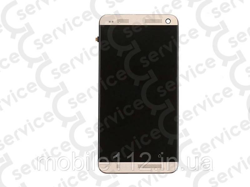 Дисплей для HTC 801e One M7 + touchscreen, чёрный, с передней панелью золотистого цвета