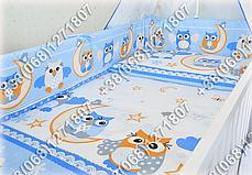 """Детское постельное белье в кроватку """"Карапуз"""" комплект 7 ед. (сова голубой), фото 2"""