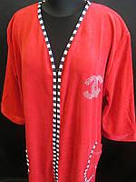 Женские велюровые халаты с карманами и длинным рукавом, фото 1