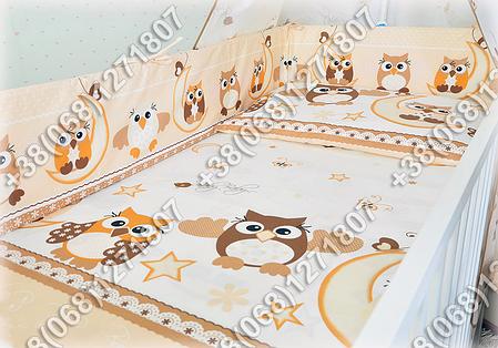 """Детское постельное белье в кроватку """"Карапуз"""" комплект 6 ед. (сова бежевый), фото 2"""