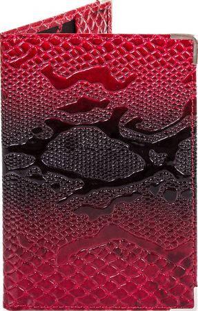 Оригинальная женская кожаная обложка для паспорта с тиснением под кожу змеи CANPELLINI SHI500-1 бордовый