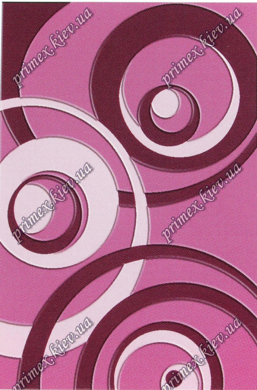 """Рельефный ковер, дорожка Радуга """"Круги"""", цвет розовый"""