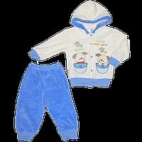 """Детский велюровый костюмчик """"DOGS"""": кофта на кнопках с капюшоном, штаны; Турция, р. 74"""