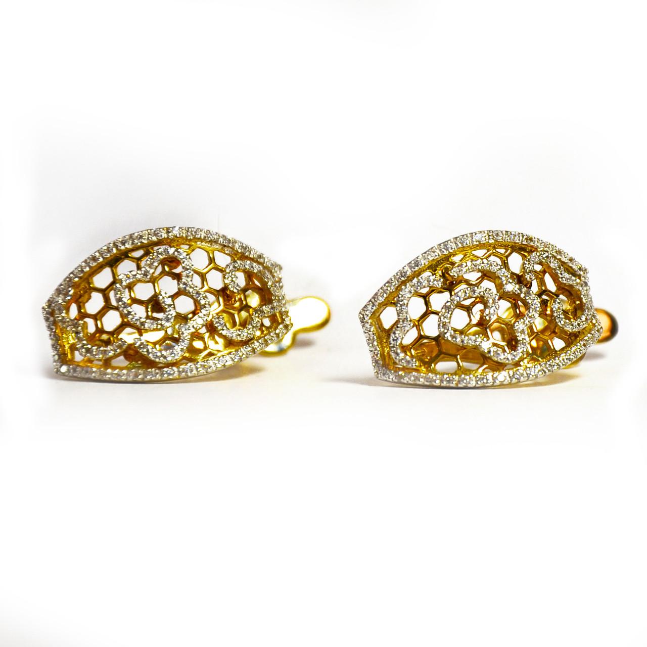 Золотые серьги с цирконием (лимонное золото)