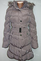 Зимняя женская куртка на замке с капюшоном серая