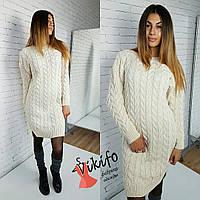 Платье вязаное косичка теплое турецкая пряжа разные цвета SMf759
