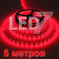 5 метров — КРАСНЫЙ, светодиодная лента 3528, 60 д/м, IP20