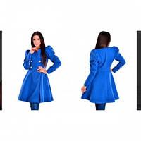 Пальто женское кашемировое с пышной юбкой 514 синее