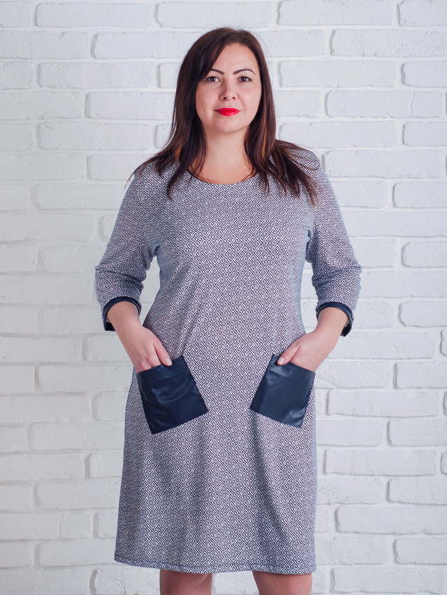 черно-белое женское платье, платье с кожзамом