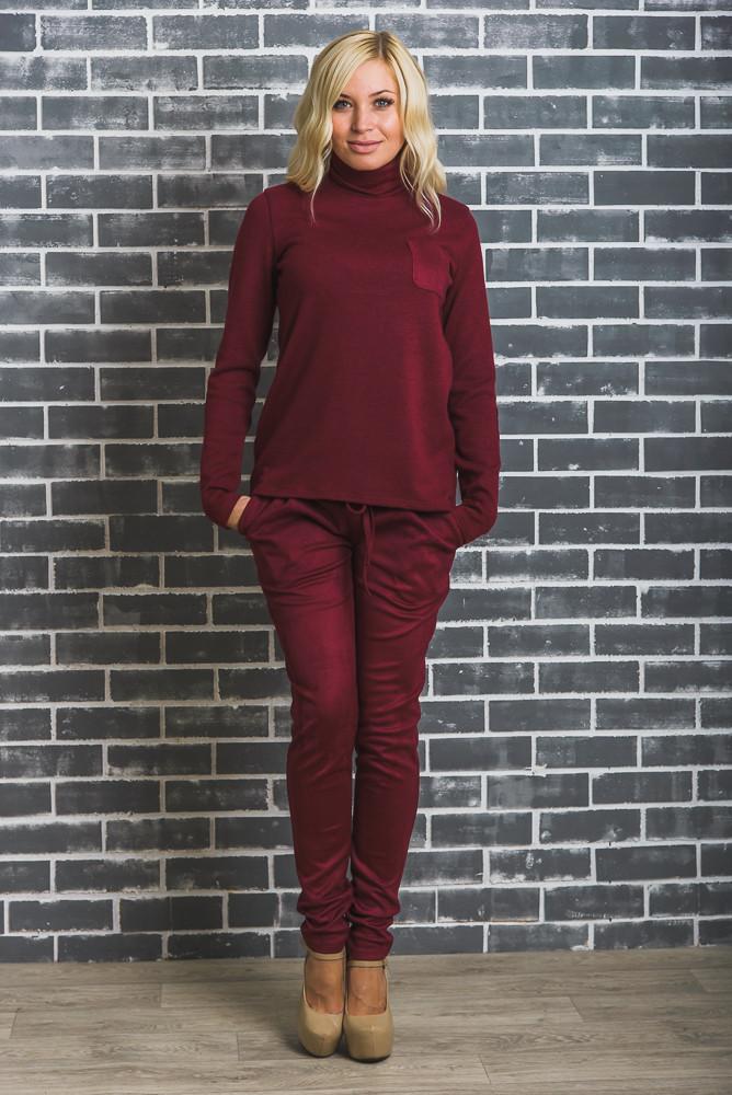 Стильные замшевые брюки бордо