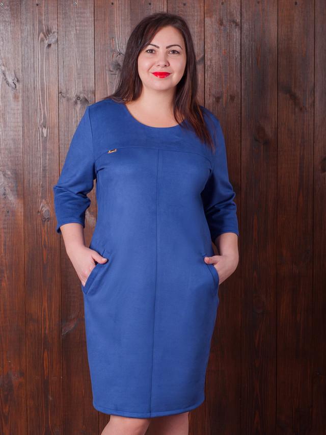 синее замшвое платье, платье из замша женское, платье под замш,