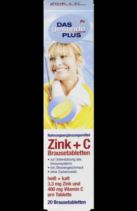 Шипучие таблетки-витамины Das Gesunde Plus Zink + C, 20 шт.