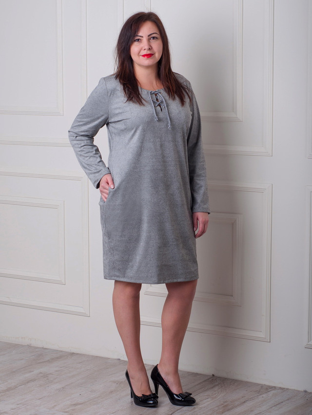удобное женсоке пдатье, платье женское замшевое с карманами
