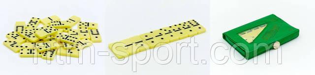Доміно в чохлі з PVC. Гральні кістки зі світлого пластику компактно складаються в мініатюрний чохол з PVC. Набір доміно легко поміщається в кишеню.