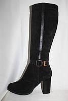 Зимние стильные женские замшевые сапоги на высоком каблуке с кожаным ремешком