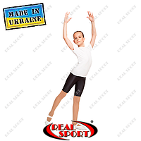 Футболка для танцев и гимнастики GM080004 (хлопок, р-р 2-4, рост 110-140 см, белая)