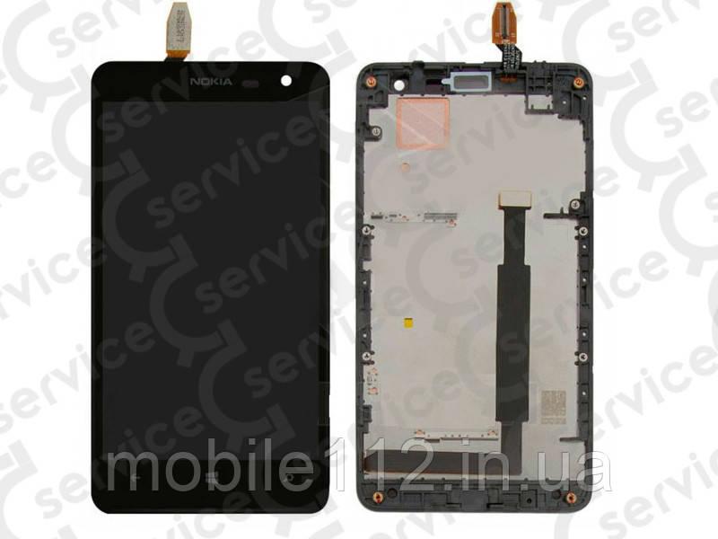 Дисплей для Nokia 625 Lumia + touchscreen, чёрный, с передней панелью, оригинал (Китай)