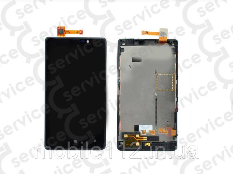 Дисплей для Nokia 820 Lumia + touchscreen, чёрный, с передней панелью, оригинал (Китай)
