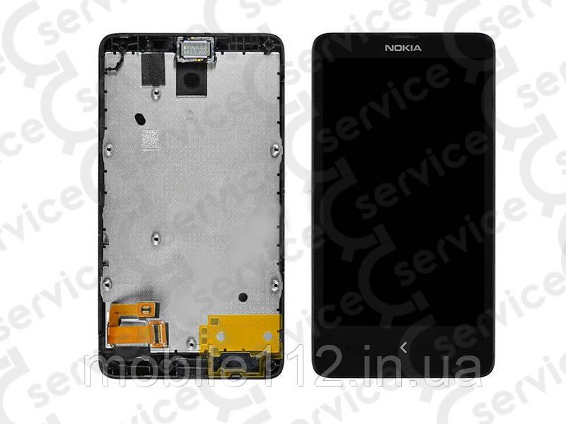 Дисплей для Nokia 980 Lumia + touchscreen, чёрный, с передней панелью