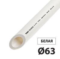 Труба полипропилен PN20 д63 TEBO белая 4/12 м, фото 1