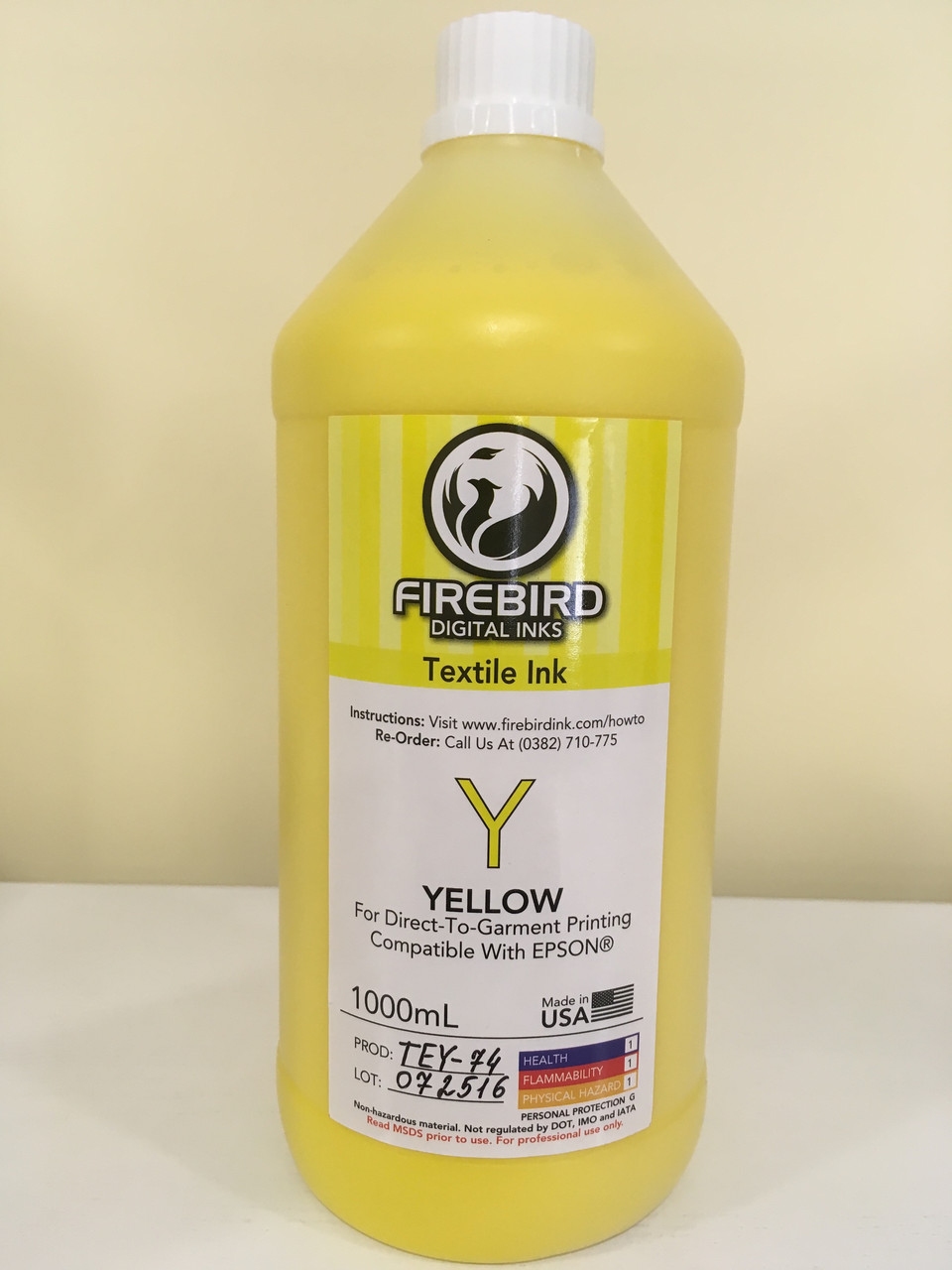 Текстильные чернила FIREBIRD™  YELLOW 1 литр