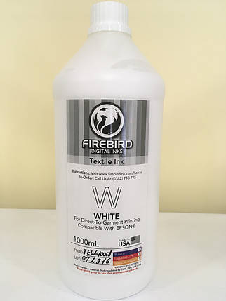 Текстильные чернила FIREBIRD™  WHITE 1 литр, фото 2