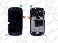 Дисплей для Samsung i8190 Galaxy S3 mini + touchscreen, синий, с передней панелью