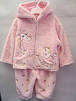 """Детский теплый костюмчик-двойка на девочку """"Жираф"""". 9-12 мес. Розовый. Оптом."""