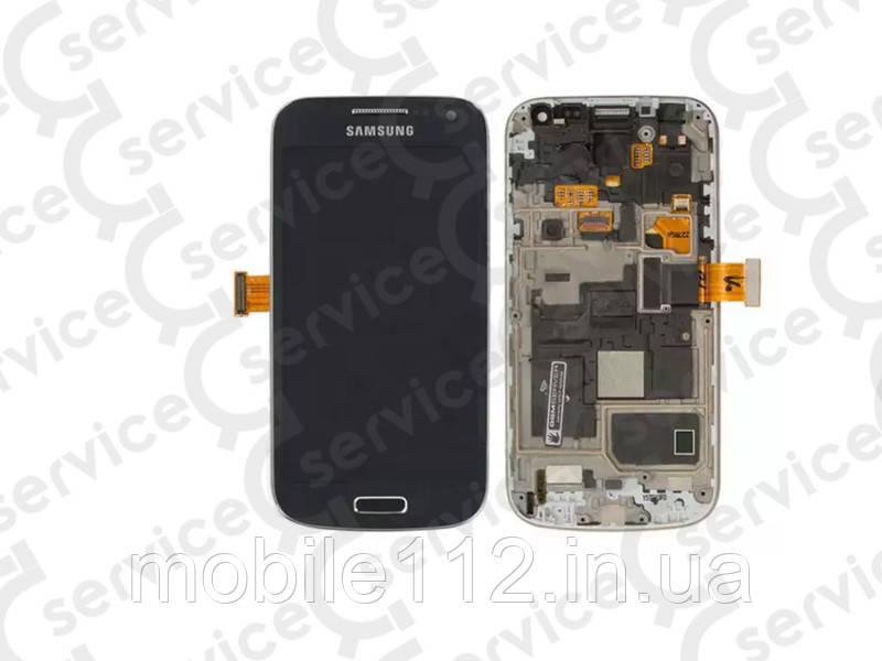 Дисплей для Samsung i9190 Galaxy S4 mini + touchscreen, синий, с передней панелью