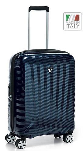 4-колесный стильный чемодан, пластиковый 41 л. Roncato UNO ZSL Premium 5173 0193 синий карбон