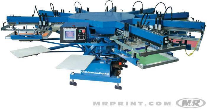 Карусельная печатная машина трафаретной печати по футболкам и крою M&R DIAMONDBACK , фото 2
