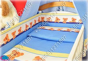 """Детское постельное белье в кроватку """"Карапуз"""" комплект 7 ед. (мишка/точка голубой), фото 2"""