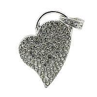 USB флешка влюбленное сердце метал серебро