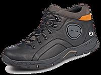 Зимние мужские кожаные черные спортивные ботинки, зимние кроссовки Mida