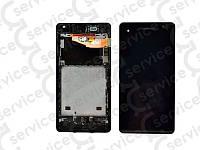 Дисплей для Sony LT25i Xperia V + touchscreen, чёрный, с передней панелью