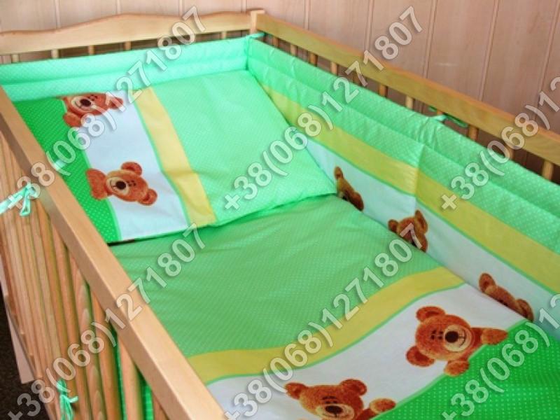 """Детское постельное белье в кроватку """"Карапуз"""" комплект 6 ед. (мишка/точка салатовый)"""
