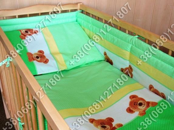 """Детское постельное белье в кроватку """"Карапуз"""" комплект 6 ед. (мишка/точка салатовый), фото 2"""