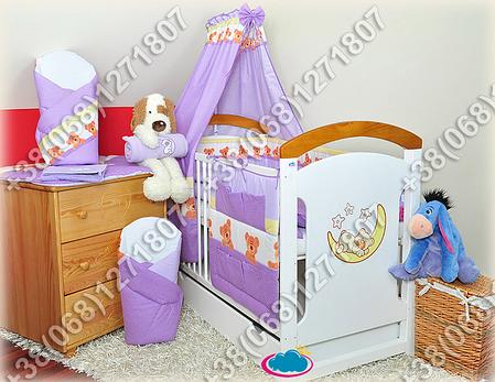 """Детское постельное белье в кроватку """"Карапуз"""" комплект 6 ед. (мишка/точка фиолетовый), фото 2"""
