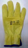 Перчатки кожаные Doloni: жёлтая кожа, без подкладки