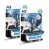 """Автомобильные галогенные лампы """"PHILIPS""""(H3)(White Vision)(4300K)(+60%)(12V)(55W), фото 1"""