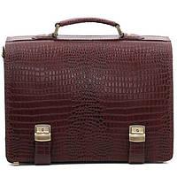 Кожаный мужской портфель ТМ-1 коричневый крокко