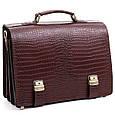 Кожаный мужской портфель ТМ-1 коричневый крокко, фото 2