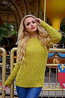 Зимний вязаный женский свитер Эмма 5095 Modus фисташка  44-48 размеры