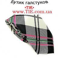 Галстук мужской узкий белый/черный (салатовая и белая полосочка) Bow Tie House™