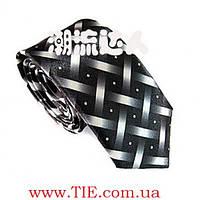 Галстук мужской узкий стильный, черный с белым Bow Tie House™