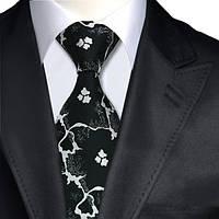 Галстук мужской черный с белыми абстракциями JASON&VOGUE