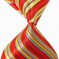 Галстук мужской красный с желтыми и белыми полосками Yunlifu