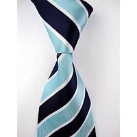 Галстук мужской темно-синий с голубым в полоску KAILONG